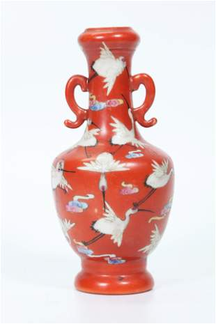 Chinese Coral Ground Porcelain Crane Cabinet Vase