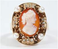 American Lady Agate Cameo in 14K Gold Diamond Ring