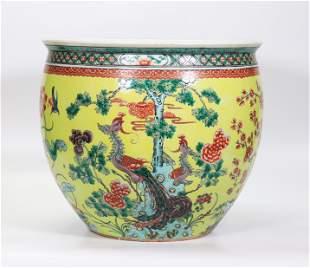 Chinese Qing Yellow Porcelain Fish Bowl Planter