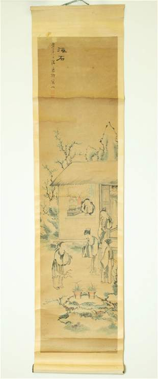 Chinese Ink Scroll Painting on Paper Qing Figures