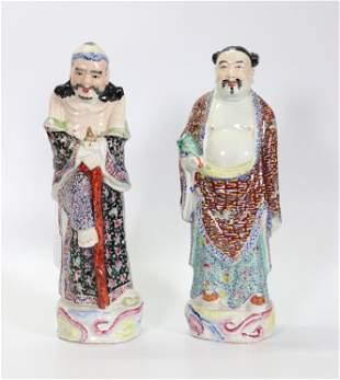 2 Chinese Enamel Porcelain Immortals: Li , Zhongli