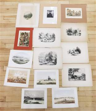 14 Early 19 C American Lithographs & Etchings