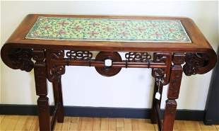 Chinese 19 C Hard Wood Table Doucai Porcelain Top