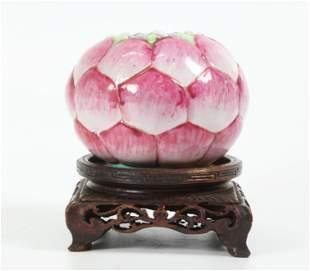 Chinese Famille Rose Porcelain Lotus Bud Water Pot
