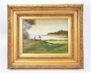 D'Angelo: Golfing Scene; Oil on Canvas; Framed