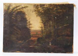 American 19 C Oil Painting Farm & Stream Landscape