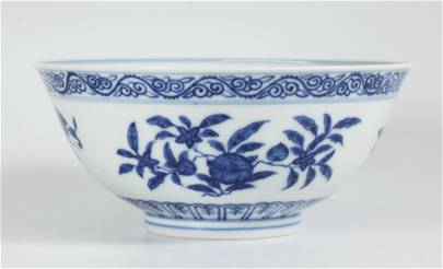 Chinese Guangxu Blue White Porcelain Sanduo Bowl