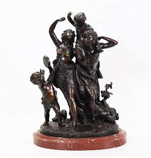 "Clodion; 19 C Bronze Cast ""Family of the Faun"""
