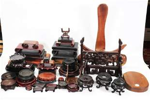 40+ Chinese Hardwood Stands; Scrolls, Plate, Round