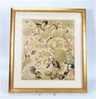 Chinese 19 C Silk Bird Embroidery; Framed