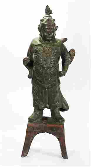 Rare Large Chinese Ming Dynasty Bronze Guardian