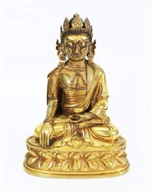 Chinese or Tibetan 18 C Gilt Bronze Healing Buddha