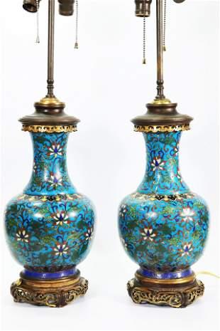 Pr Chinese 17 C Gilt Bronze Cloisonne Vases