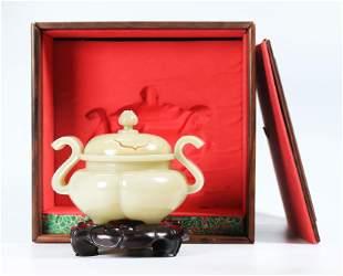 Chinese Pale Celadon Jade Incense Burner, Stand