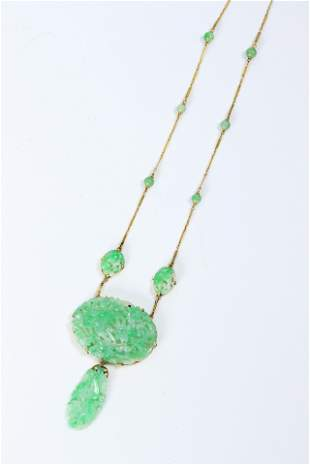Chinese Late Qing Jadeite 14K Gold Necklace