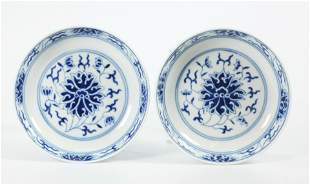 Pr Chinese 19 C Lotus Blue White Porcelain Plates