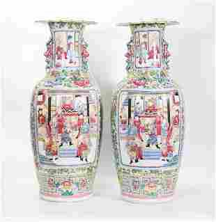 Pair Chinese 19 C Famille Rose Porcelain Vases