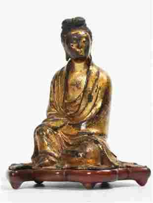 Fine Chinese 17 C Gilt Bronze Seated Guanyin