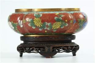 Chinese Lao Tian Li 19 C Cloisonne Planter & Stand