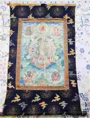 Tibetan 18 C Thangka Avalokiteshvara Brocade Edge