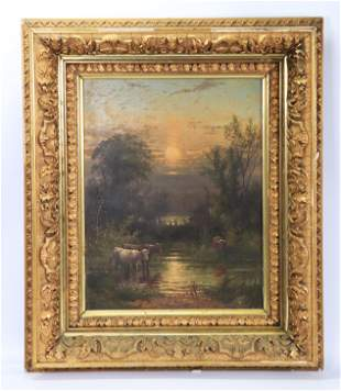 American 19th C Oil Painting Cow Pond at Sunset