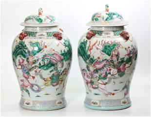 Pr Lg Chinese Qing Rose Porcelain Temple Urns