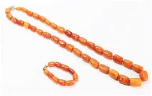Butterscotch Amber Necklace 108G & Bracelet 17G