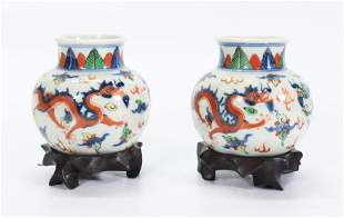 Pair Chinese Wucai Porcelain Dragon Vases