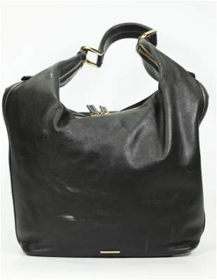 Vintage Gucci Black Leather Sack Shoulder Bag