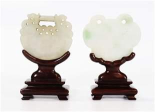 """2 Chinese Qing Jade or Jadeite """"Lock"""" Pendants"""