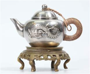 Chinese Silver Teapot on Bronze Flat Stand