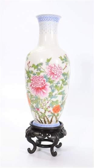 Chinese Famille Rose Egg Shell Porcelain Vase