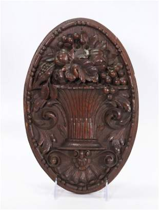 Samuel McIntyre Style Wood Fruit Basket Plaque