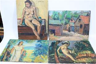 George Swanson; 4 Oil Paintings 2 are Female Nudes