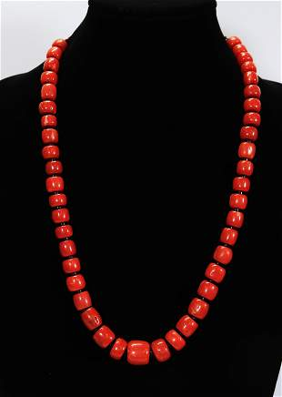 Tibetan Aka Coral Bead Necklace; 113.2G