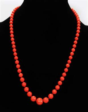 Very Fine Dark Coral Bead Necklace; 44.4G