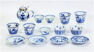 14 Chinese Kangxi Blue & White Porcelains