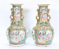 Pr Chinese 19 C Rose Mandarin Porcelain Vases