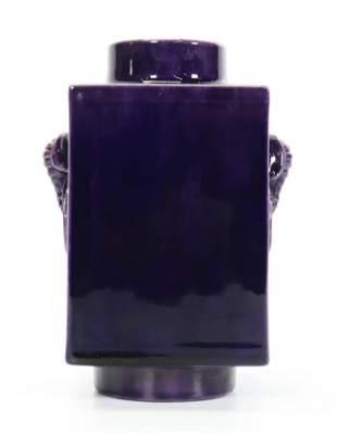 """Chinese Purple Glazed Porcelain """"Cong"""" Vase"""