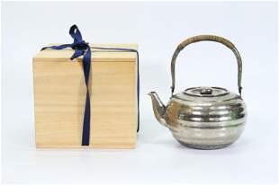Lg Japanese Silver Hammered Teapot; 336G