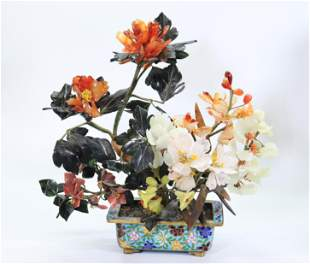"""Chinese Hard Stone""""Jade"""" Tree in Cloisonne Planter"""