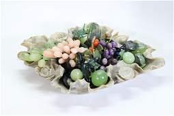 Large Chinese Group Carved Hard Stone Fruit & Bowl