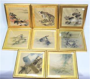 8 - 19th C Japanese Ink Paintings on Silk