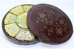 Chinese 19 C Canton Enamel 9 Dish Set & Box