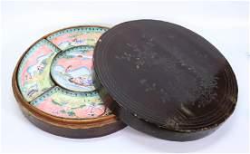 Chinese 19 C Canton Enamel 5 Dish Set & Box