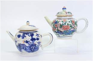 2 Chinese 18 C Blue White Enamel Porcelain Teapots