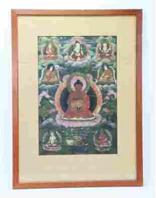 Tibetan Thangka, Matted & Framed