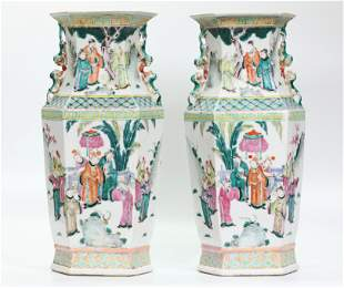 Mirror Pr Chinese Rose Porcelain Hexagon Vases