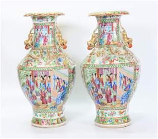 Pr Chinese 19 C Rose Porcelain Mandarin Vases