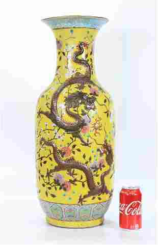 Large Chinese Yellow Ground Porcelain Dragon Vase